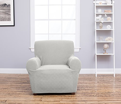 Home Fashion Designs Form Fit, Slip Resistant, Stylish Furniture Shield/Protector Featuring Plush, Heavyweight Fabric. Cambria Collection Deluxe Strapless Slipcover Brand. (Chair, Ivory)