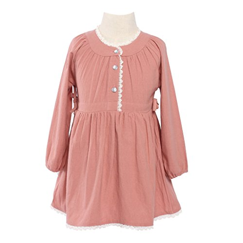 Girls Kids Vintage Dress Lace Long Sleeve Lace Clothes Pink 6-7 Year