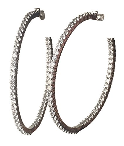 Platinum Plated Sterling Silver and Swarovski Zirconia Inside-Out Hoop Earrings (7.25 (Tiffany Platinum Earrings)