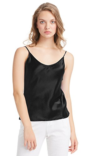 LilySilk Womens Silk Camisole 100 Real Pure Mulberry Charmeuse 19MM V Neck Basics Tops Ladies Lingerie Satin Black M/8-10