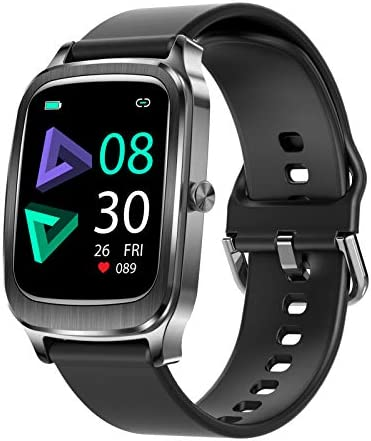 Smart Watches Fitness Tracker for Men Women Compatible for Android iOS Phones,Smart Watch with Heart Rate Monitoring 1.65 Full-Screen Touch IP67 Waterproof Watch (Black)