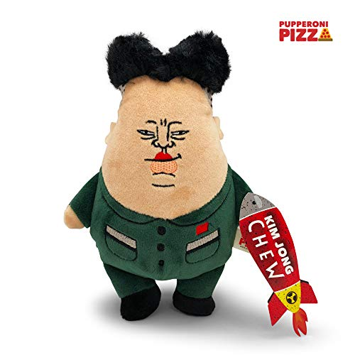 Pupperoni Pizza Chewy Squeaky Funny Silly Fuzzy Chubby Soft Plush Chew Fetch Cuddle Dog Toy Hilarious Parody Political Novelty Gag Gifts, Kim Jong Un, Large