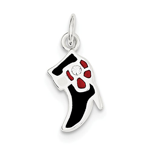 (Solid 925 Sterling Silver Pendant Black & Red Enameled Boot Charm (21mm x 9mm) )