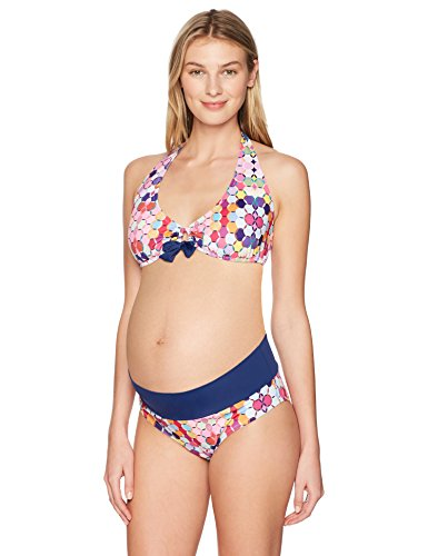 Prego Maternity Women's Maternity Kaleidoscope Roll Waist Bikini, Navy, Small