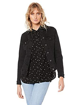 French Connection Women's Stretch Denim Jacket, Washed Black, Eight
