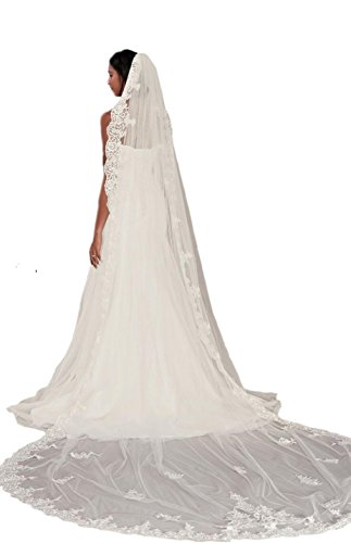 Passat Pale Ivory Single-Tier 3M Cathedral Corded Lace sparkle wedding veil with Scalloped Edge DB46 by Passat