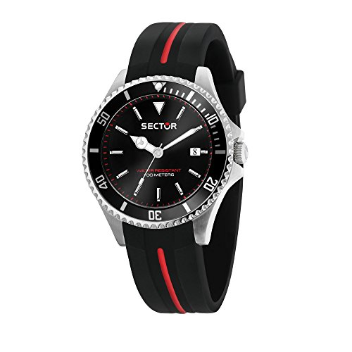 SECTOR Men's 230 Stainless Steel Analog-Quartz Silicone Strap, Black, 18 Casual Watch (Model: R3251161038