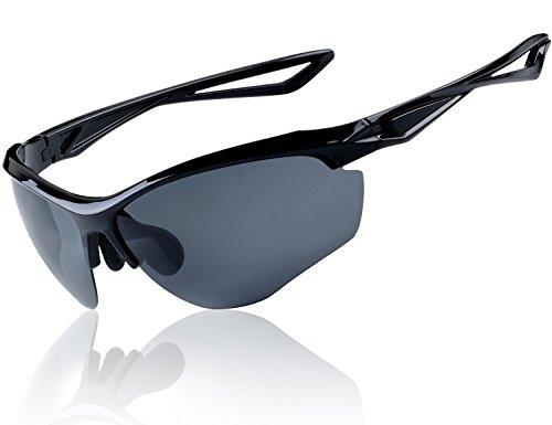 Yaroce Polarized Sunglasses for Men, Tac Glasses HD Lens, Baseball Fishing Cycling Golf Running Sports Unisex Sun Glasses for Men Women, Sports Vented (Eagles Black Frame Sunglasses)