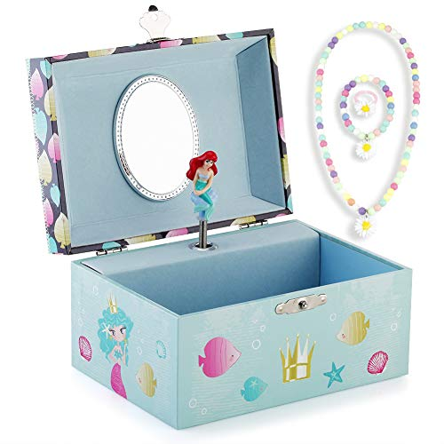 Round Rich Musical Jewelry Box - Musical Storage Box with Jewelry Set with Lovely Mermaid Theme - Beautiful Dreamer Tune Blue