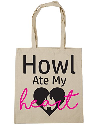 HippoWarehouse Heulen Ate My Heart Einkaufstasche Fitnessstudio Strandtasche 42cm x38cm, 10 liter - Natürlich, One size