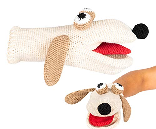 Concept Baby Gifts Dog Hand Puppet Hand Knitted Organic Cotton Yarn Made in Turkey