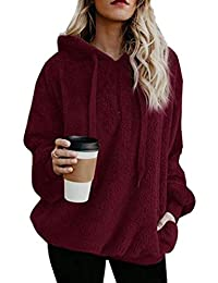Ecupper Womens Fuzzy Sherpa Hoodies Pullover Zip Fleece Sweatshirt Outwear