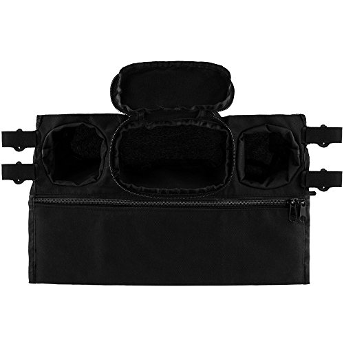 Anpro Baby Stroller Organizer Bag with 2 Drink Holders & 1 Large Zippered Pouch, Black