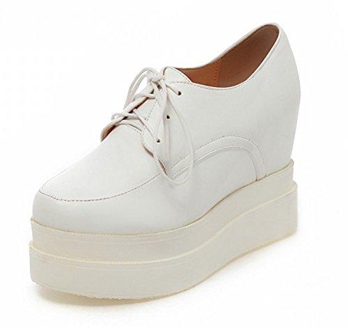 Aisun Femmes Casual Bout Rond Semelle Épaisse Haute Tops Ascenseur Sneakers Robe Plate-forme Lace Up Oxfords Chaussures Blanc