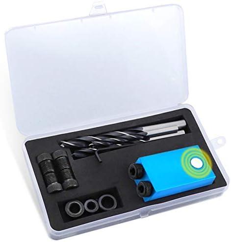 14ピースポケット穴ジグ交換可能6 8 10 mmドリルガイドウッドバック用磁気バックダボジグキットウッドドリル-ブルー