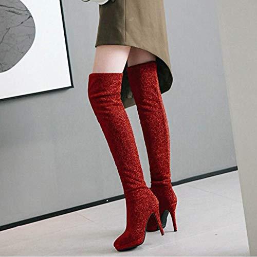 Haut Plateforme Cuissardes Femmes Rouge Bottes Coolcept Talon Mode 1nH6EWT