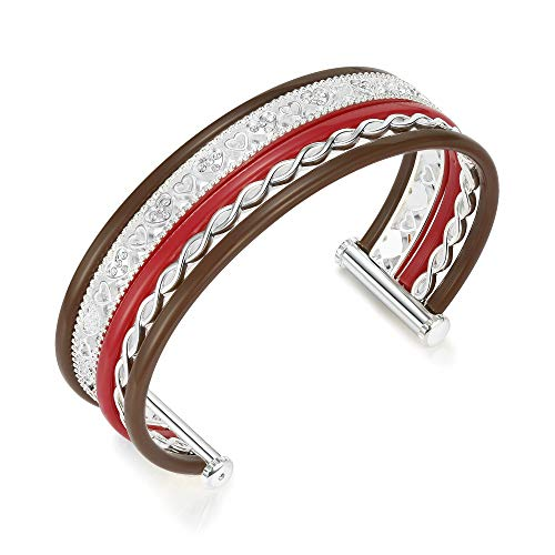 Floya Women Heart Cuff Bangle Bracelet Silver Color Multi-Strand Stacking Bracelet Jewelry for Girl Gifts