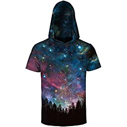 Comeon Men 3D Printed Galaxy Short Sleeve Casual Pullover Sweatshirt Hoodie T Shirt Tops Cool Colorful Hooded Shirts (S/m)