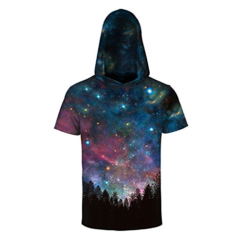 Comeon Men 3D Printed Galaxy Short Sleeve Casual Pullover Sweatshirt Hoodie T Shirt Tops Cool Colorful Hooded Shirts (S/m) by Comeon