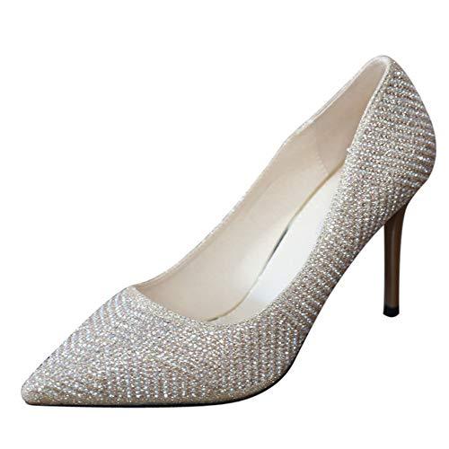 YMFIE Rhinestone Europeo señaló Sexy Tacones Altos Temperamento Zapatos de tacón Zapatos de Banquete Zapatos Superficiales Zapatos de Boda, 34 UE 34 EU