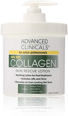 Advanced Clinicals Collagen Skin Rescue Lotion - Hydrate, Moisturize, Lift, Firm. Great for Dry Skin, 16 Ounce