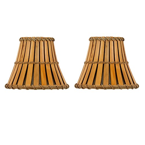 Upgradelights Set of 2 Bamboo Style Mini 4 Inch Clip on Chandelier Lamp Shades (2.5x4x4.25)