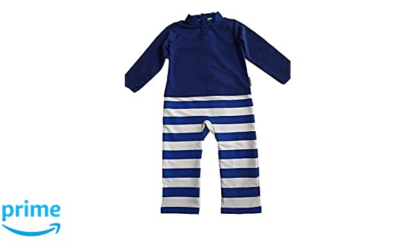 f85058f73633 Amazon.com  Strip Proof One-Piece Romper with a Back Zipper in Blue White   Clothing