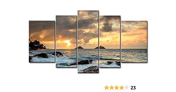 Blue 5 Piece Wall Art Painting Sunrise At Lanikai Point Hawaii White Wave Pictures Prints On Canvas Seascape The Picture Decor Oil For Home Modern Decoration Print For Kids Room Posters