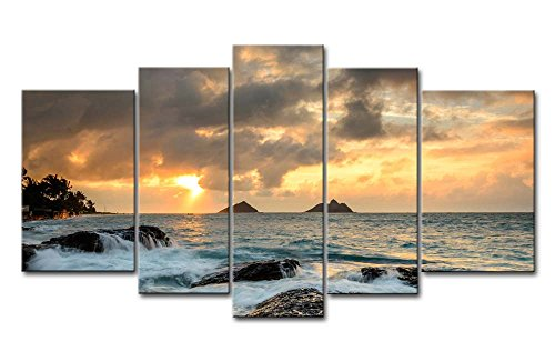 Blue 5 Piece Wall Art Painting Sunrise At Lanikai Point Hawaii White Wave Pictures Prints On Canvas Seascape The Picture Decor Oil For Home Modern Decoration Print For Kids Room - Hawaii Art Paintings