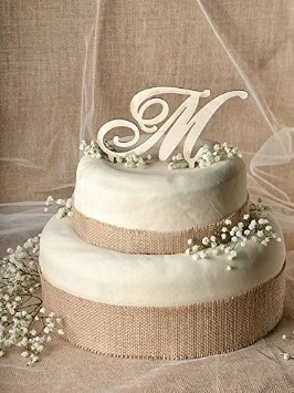 Amazon Com Rustic Wedding Cake Topper Wood Cake Topper Initial Cake