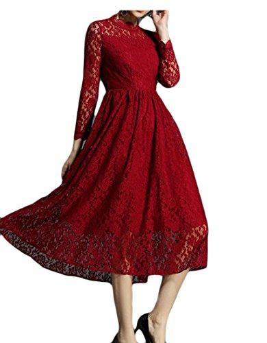 Rotondo Pizzo Donne Rosso Linea A Collo Vino Partito Lunga Del Manica Vestito Pieghe Jaycargogo Dell'oscillazione Floreale wx8SUwT