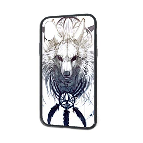 HengZhe iPhone Xs/X Case Wolf TPU Ultra-Thin Slim Soft Silicone Cover Tempered Glass Back Cover Anti-Fall Protection 5.8 Inch]()