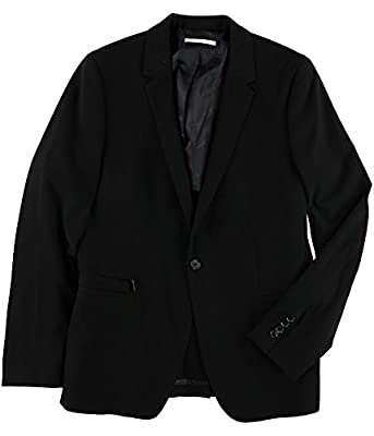 Calvin Klein Mens Seersucker One Button Blazer Jacket