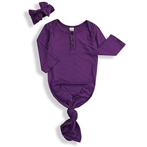 Newborn Baby Boy Girl Sleeper Gowns,Unisex Striped Sleeping Bags Swaddle Sack Coming Home Outfit 0-10 Months Purple