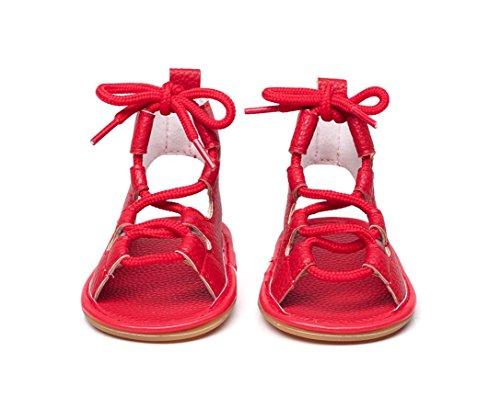 ... IGEMY Kinder Baby Casual Sandalen Verband Kreuz-gebunden Sohle Krippe  Hohl Kinder Schuhe Rot ... cd33dbc4f6