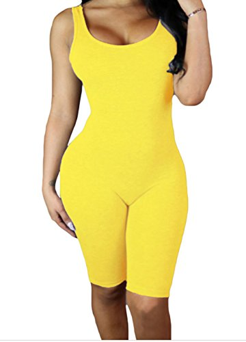 Christmas DH-MS Dress Women's Yellow Double Scoop Sleeveless Jumpsuit (Halloween Newsletter Names)
