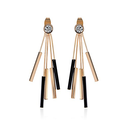 Gold Austrian Crystal Earrings (Rose Gold Plated Long Chain Tassel Drop Dangle Earrings Clear Crystal Tassel Statement Jewelry…)