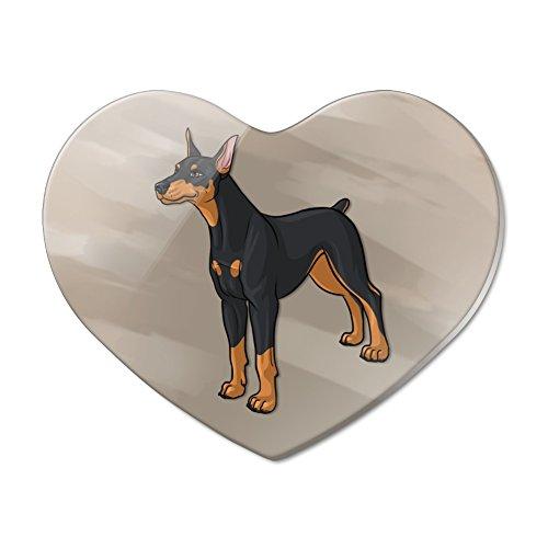Doberman Pinscher Dog Pet Heart Acrylic Fridge Refrigerator Magnet ()