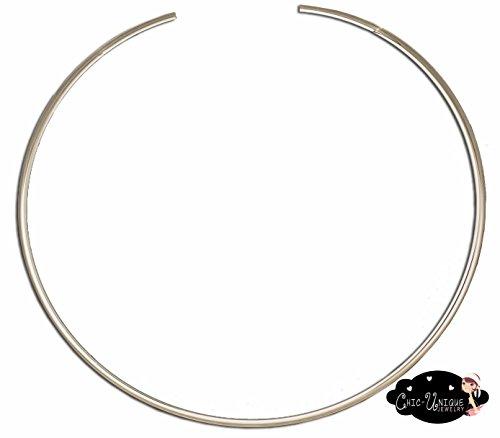 Shiny Silver Round 4mm Choker Collar Necklace Wire Women's Jewelry (CS12)