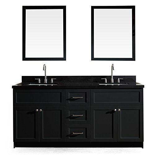 - ARIEL Hamlet 73 In. Double Sink Vanity Set With Absolute Black Granite Countertop In Black