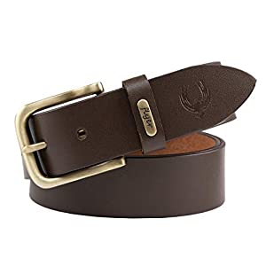 Flyer Men's Leather belt (Formal/Casual) (Colour – Black/Brown) Buckle Adjustable Size Genuine Leather (B908)