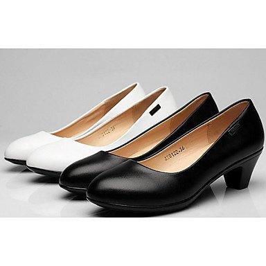 Blanco Otoño Zapatos ggx Mujer Tacón Cms Robusto 9'5 Black Primavera Formales Cuero Tacones Lvyuan 7'5 Negro qSgva010