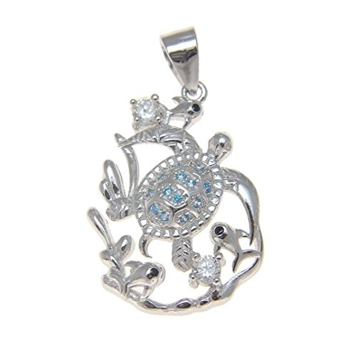 925 Sterling silver 0.2 ct blue topaz and 0.12 cz Hawaiian honu turtle fish pendant ()