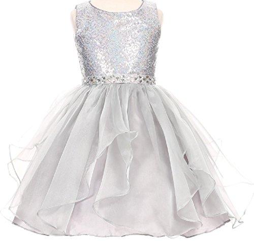 [Little Girls Sparkling Sequin Organza Short Flower Girls Dresses (12CC07) Silver 4] (Romantic Bridals Flower Girl Dress)