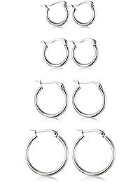 4 Pairs Stainless Steel Hoop Earrings Set Cute Huggie Earrings for Women,10MM-20MM