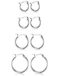 Thunaraz 4 Pairs Stainless Steel Hoop Earrings Set Cute Huggie Earrings for Women,10MM-20MM