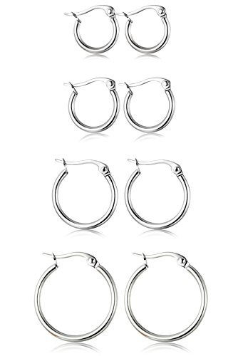 ORAZIO 4 Pairs Stainless Steel Hoop Earrings Set Cute Huggie Earrings for Womena,Silver-Tone,10MM-20MM ()