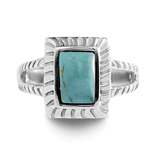 Rectangle Turquoise Beads African (Willowbird Simulated Turquoise Rectangle Split Shank Ring for Women in Rhodium Plated 925 Sterling Silver (Size 6))