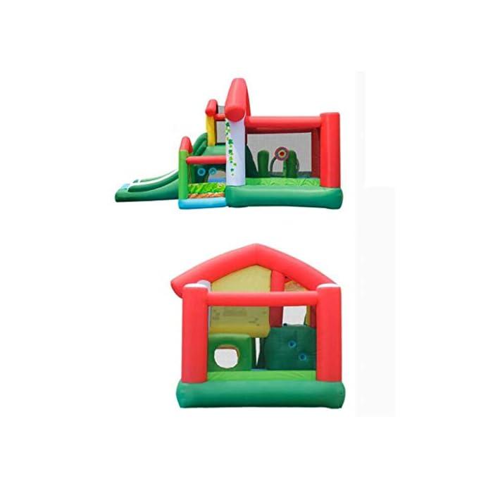 41V7VZPRknL El castillo inflable para niños tiene una gran capacidad de carga, puede acomodar a 4-6 niños al mismo tiempo para jugar al mismo tiempo e incluso puede acomodar a más niños, para que los niños puedan aumentar la interacción con otros niños, más sanos y felices al crecer. El castillo inflable para niños se puede usar en interiores, sala de estar o dormitorio, y se puede usar en exteriores, jardines, parques, jardines de infantes, parques infantiles, salidas al aire libre y otros lugares, lo que es muy conveniente, mientras que también es muy conveniente para el almacenamiento. gratis. El castillo inflable está hecho de material oxford ecológico de alta calidad. La parte inferior es de diseño grueso y antideslizante, resistente al desgaste, flexible y tiene una mayor fuerza de rebote. Al mismo tiempo, se agrega la protección de seguridad de la barra lateral y de aumento para que sus hijos jueguen.