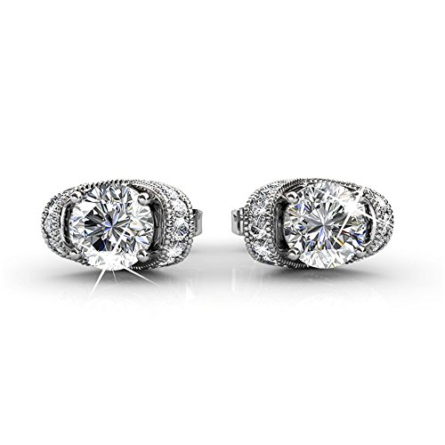 Cate & Chloe Astrid 18k White Gold Earrings with Swarovski Crystals, Halo Stud Earring Post Set, Round Cut Solitaire Earrings for Women, Ladies, Beautiful Wedding Anniversary Earrings